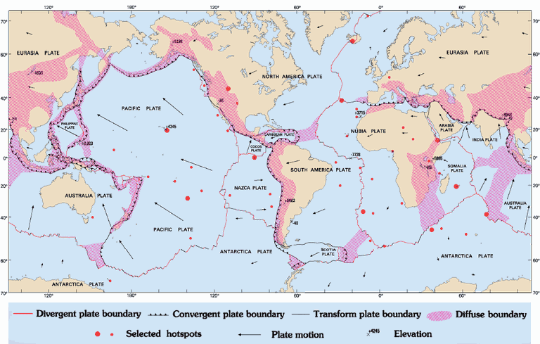 A Map of All Tectonic Plates and Their Boundaries