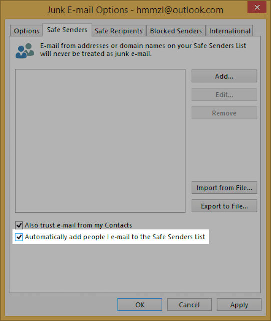 Automatically Add People You Email to the Safe Senders List (Outlook 2013)