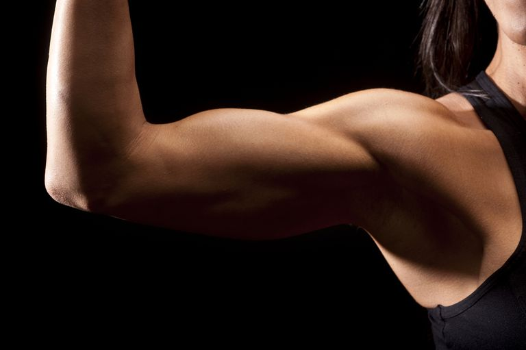woman flexing bicep muscles