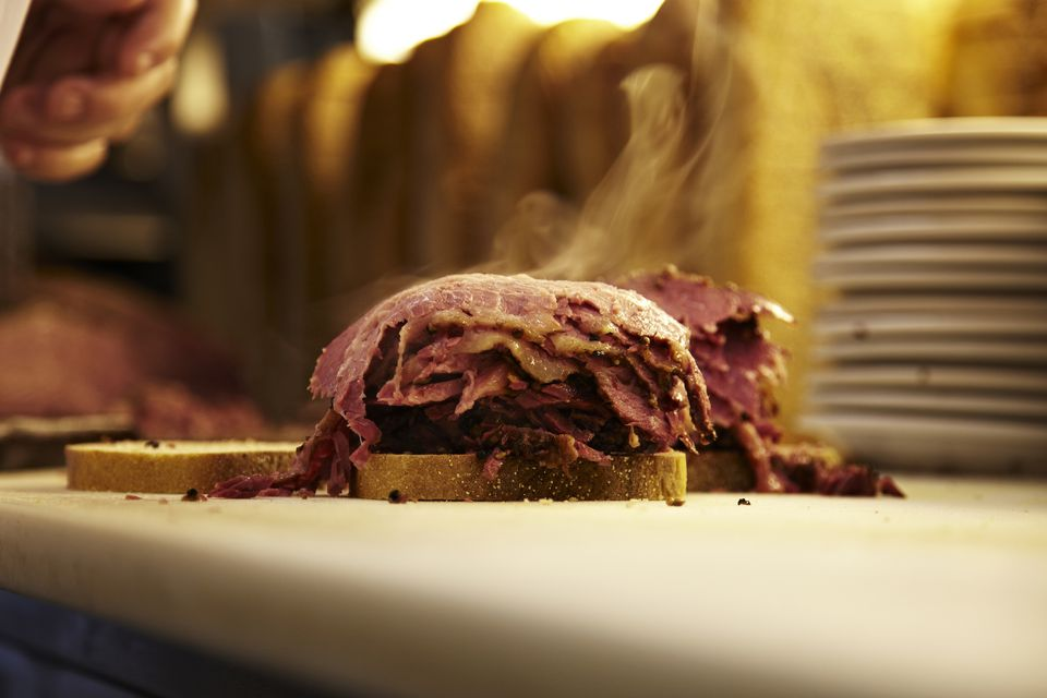 A Montreal smoked meat sandwich