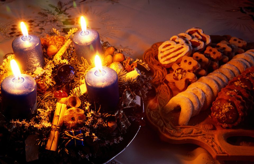 Czech Christmas biscuits and gingerbreads with Christmas wreath. Four candles are for each Advent Sunday.