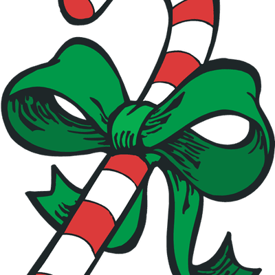 clip art of a candy cane with a bow