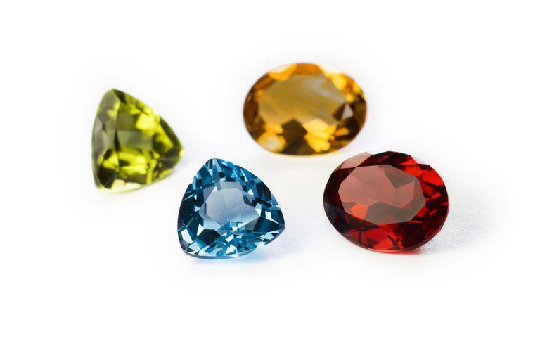 Precious gemstones: Garnet, Imperial Topaz, Ruby, and Sapphire