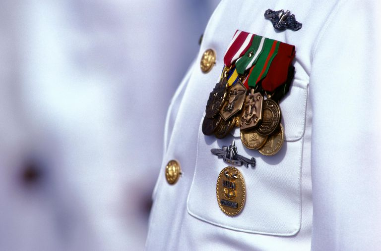 CLOSE-UP OF MEDALS ON US NAVAL OFFICER