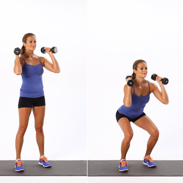 woman demonstrating a shoulder squat with dumbbells