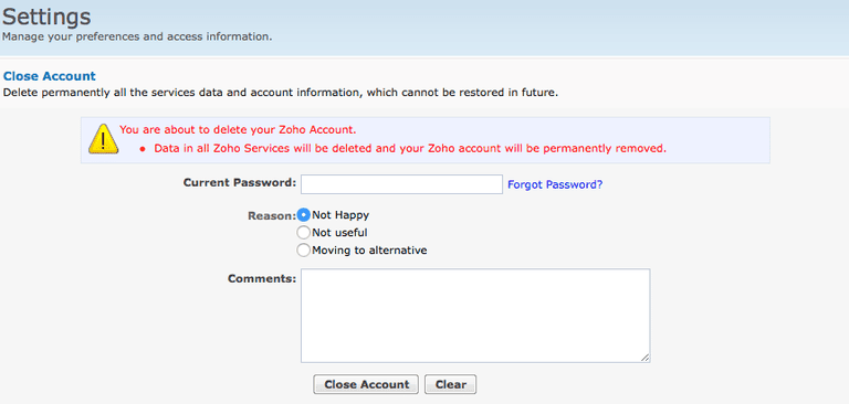 Closing a Zoho Mail Account