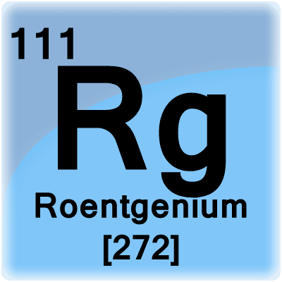 Roentgenium is a radioactive metal with element Rg and atomic number 111.