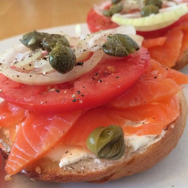 lox and capers on bagel