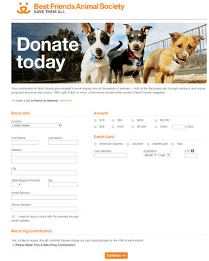 Best Friends branded donation page brings in more money than a plain one would.