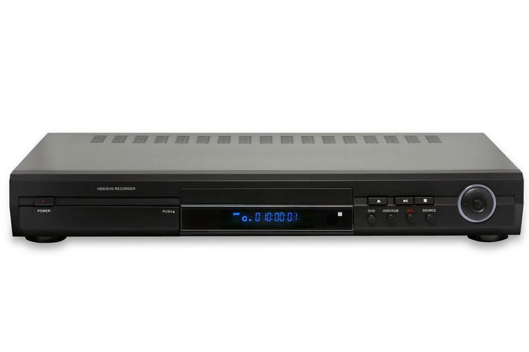 Generic DVD/HDD recorder/player, isolated on white.