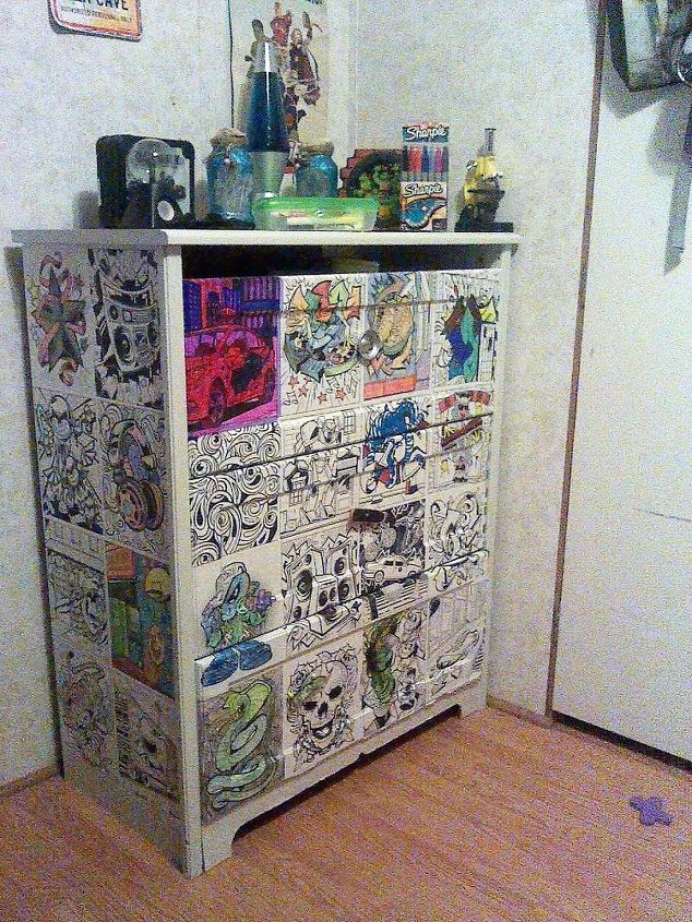 coloring book decoupaged dresser