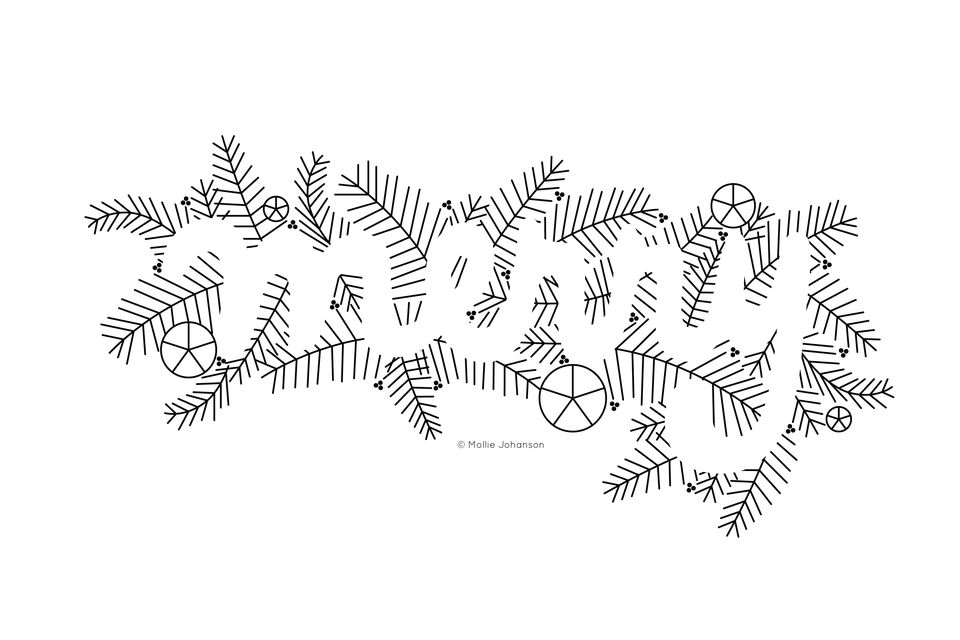 Negative Space Merry Embroidery Pattern