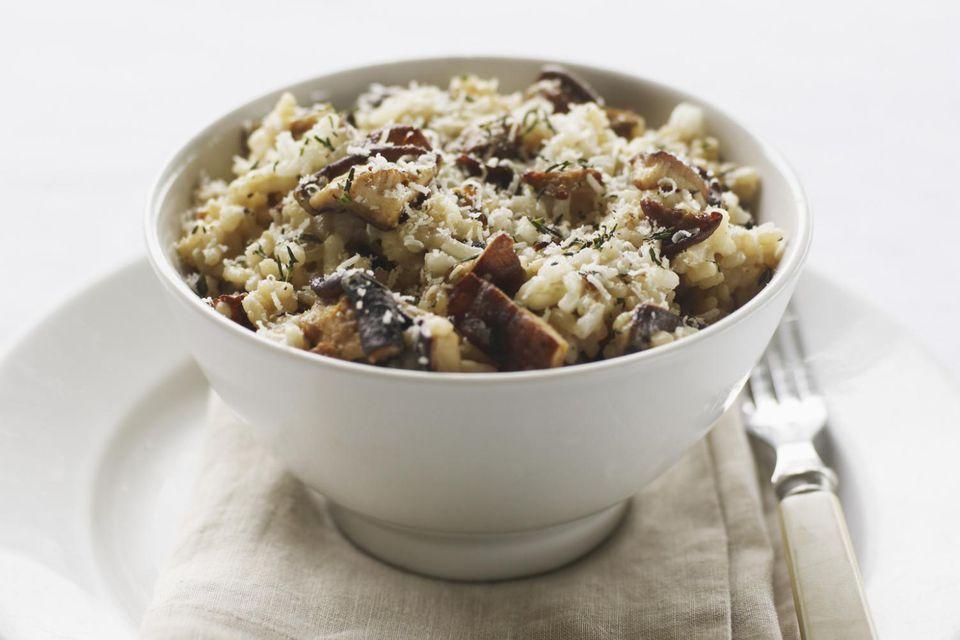 The risotto contains crimini, shitake and porcini mushrooms.