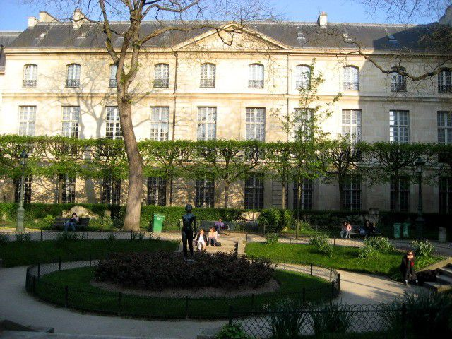 A well- square in Paris' 3rd arrondissement is exemplary of the area's quiet charm.