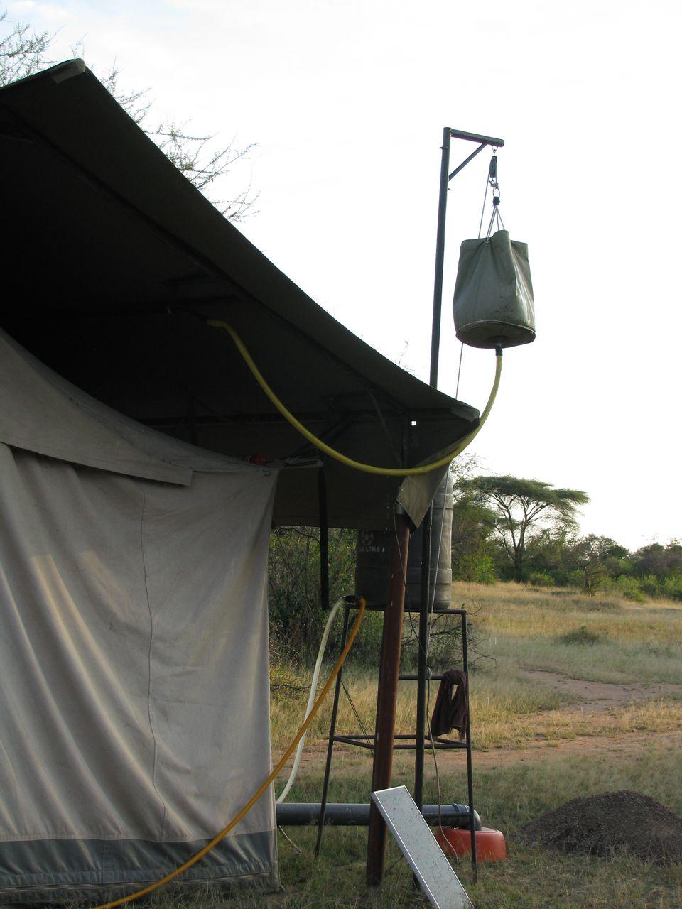 Bucket Shower Mobile Tented Camp, Serengeti