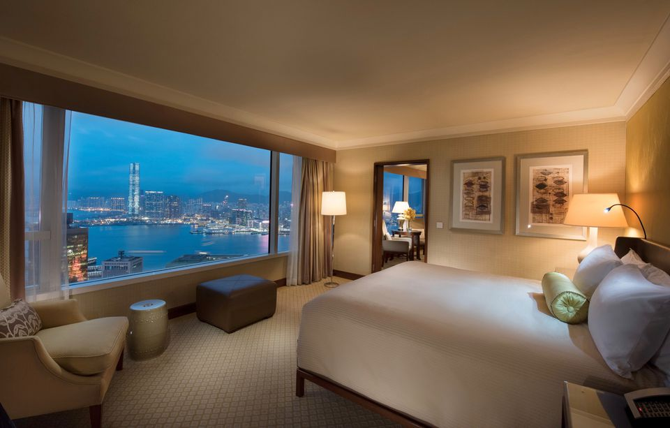 Conrad Hong Kong hotel room with harbor view