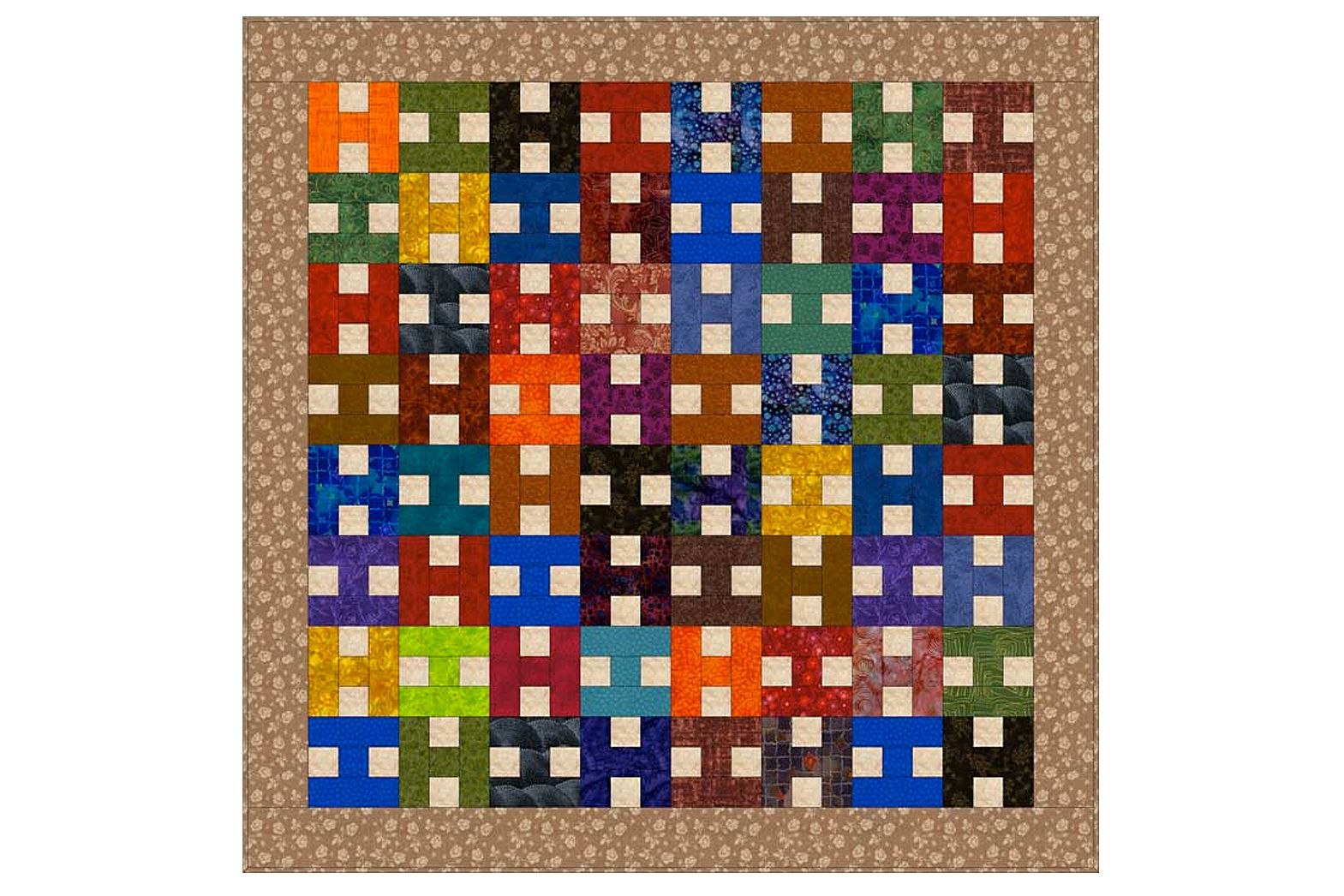 Scrappy Patchwork Quilt Pattern With Easy H Blocks