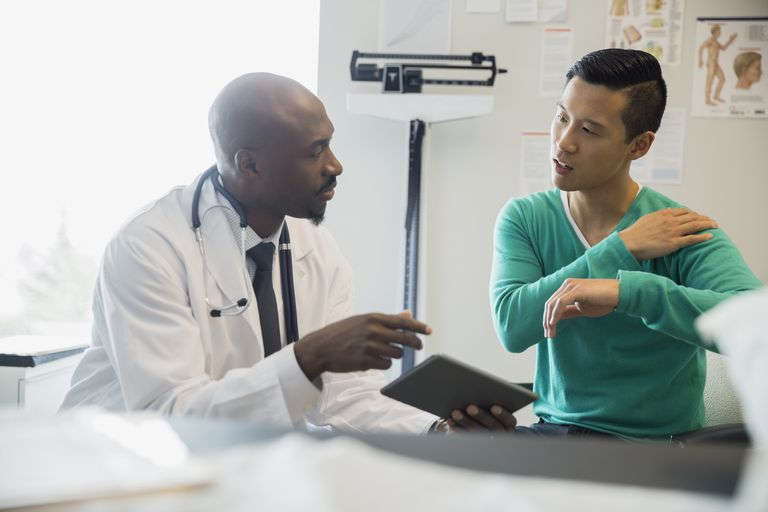 Patient explaining shoulder pain to doctor in clinic