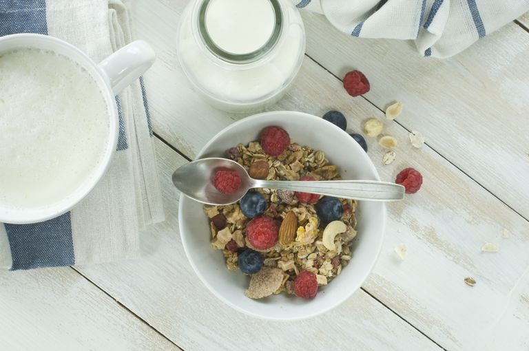cereal and milk with fruits and nuts
