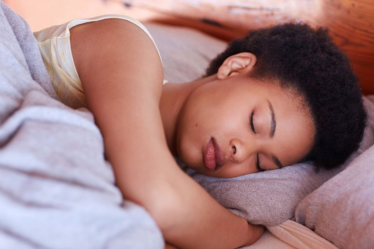 A woman in a deep sleep.