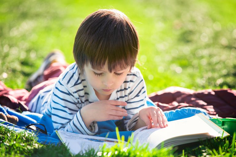 Cute boy, lying in the park in a fine sunny afternoon, reading a book
