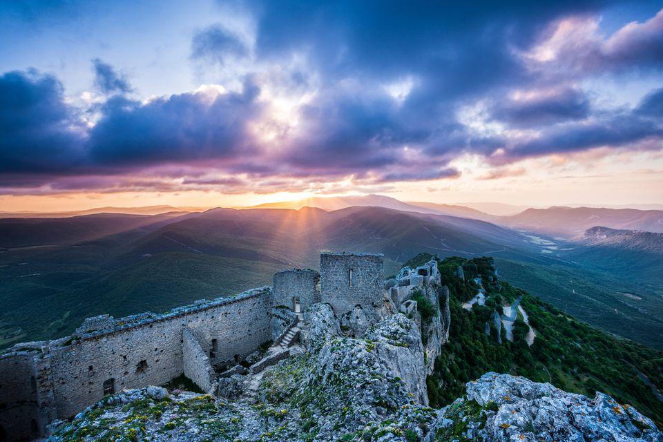 Chateau Peyrepertuse at sunrise