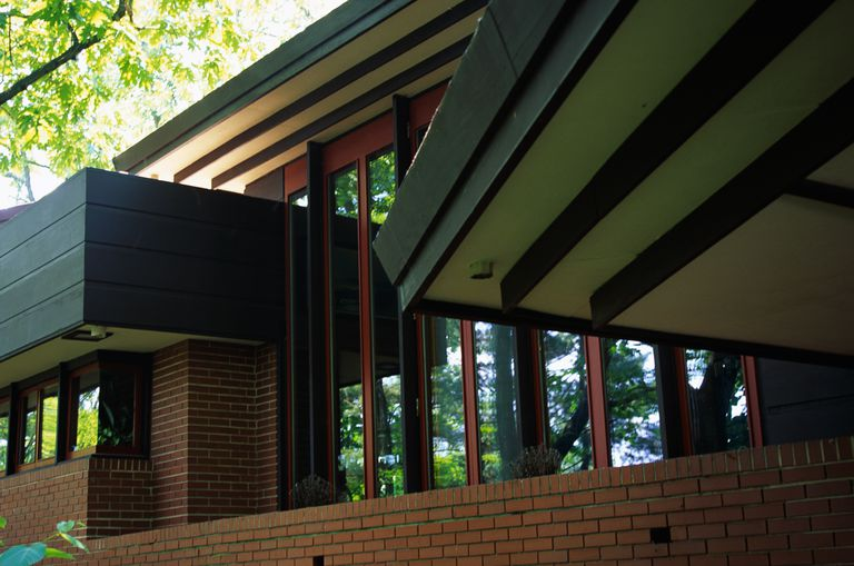 Detail of horizontal and vertical lines of the Andrew F.H. Armstrong House by Frank Lloyd Wright