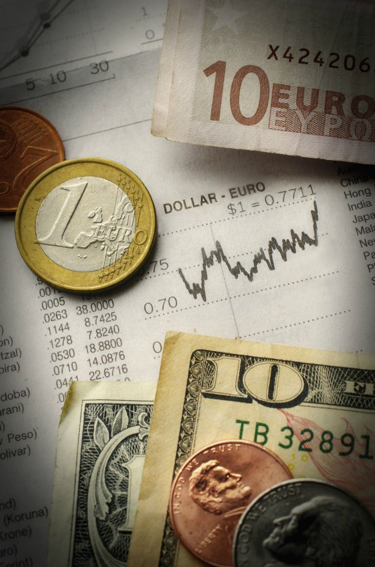 Euro and dollars with financial graph