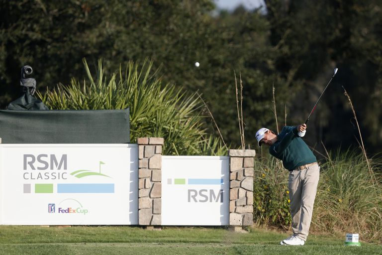 Kevin Kisner tees off on the 17th hole on the Seaside Course during the final round of The RSM Classic on November 22, 2015