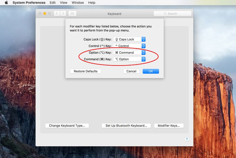 Keyboard Preference used to alter the Mac's modifier keys