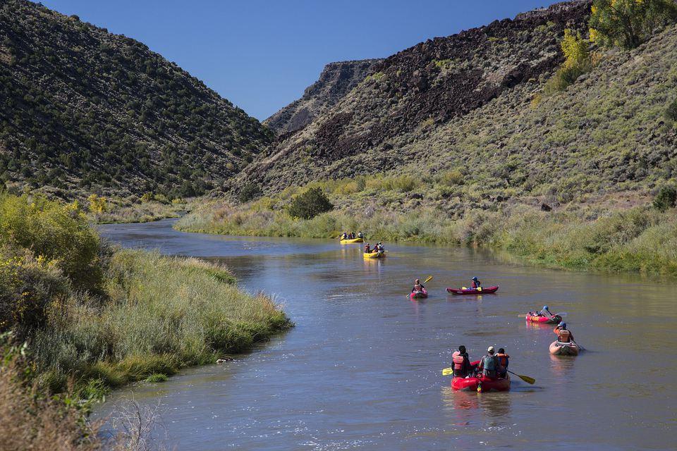 Kayaking down the Rio Grande outside of Albuquerque
