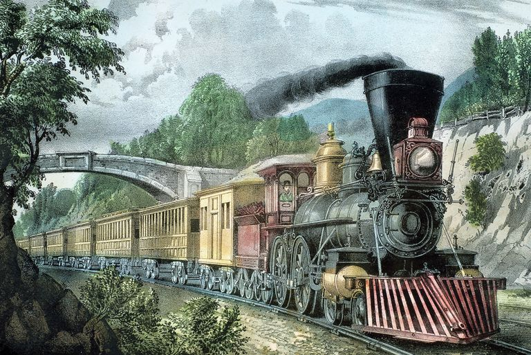 Lithograph of The Express Train by Currier and Ives