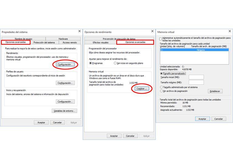 Cambiar la memoria virtual y paginación en Windows 10