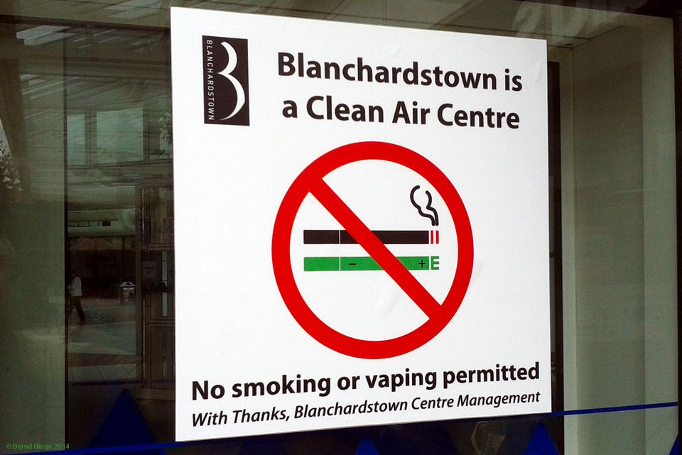 "The dreaded ""No Vaping"" sign with a representation of an electronic cigarette"