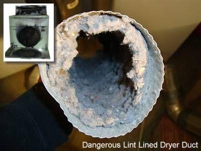 Conducto de secadora tapado con pelusa