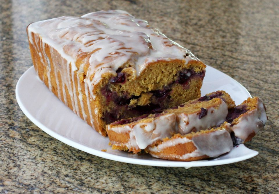 Iced Blueberry Sweet Potato Bread