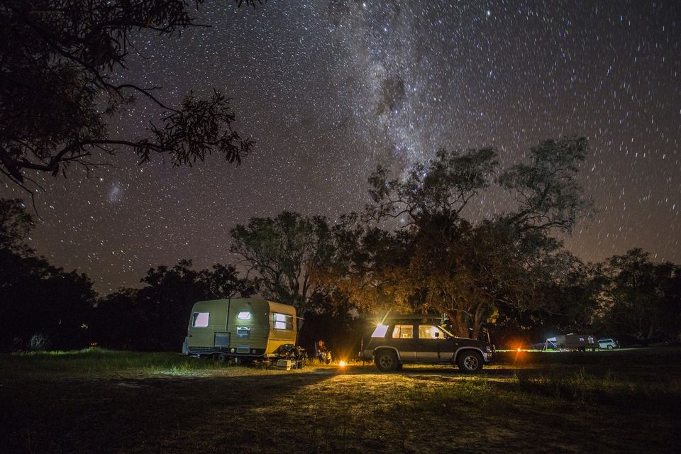 Caravan camping under the stars