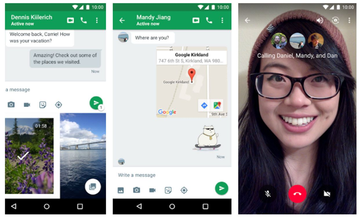 Screenshots of Google Hangouts.