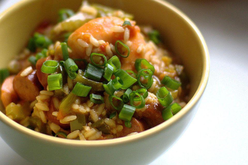 A bowl of sausage and shrimp jambalaya