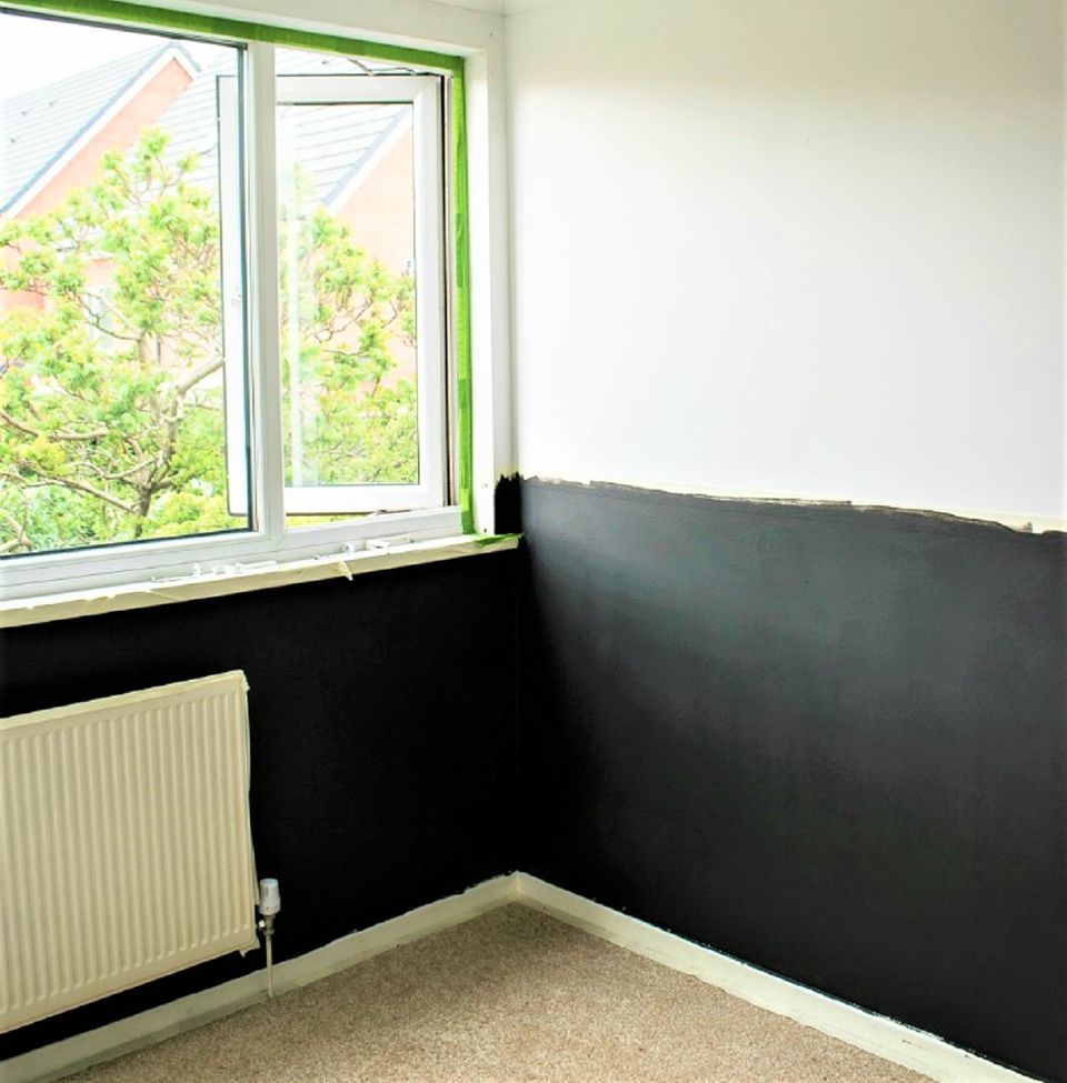Wall Painted Halfway in Bedroom Makeover