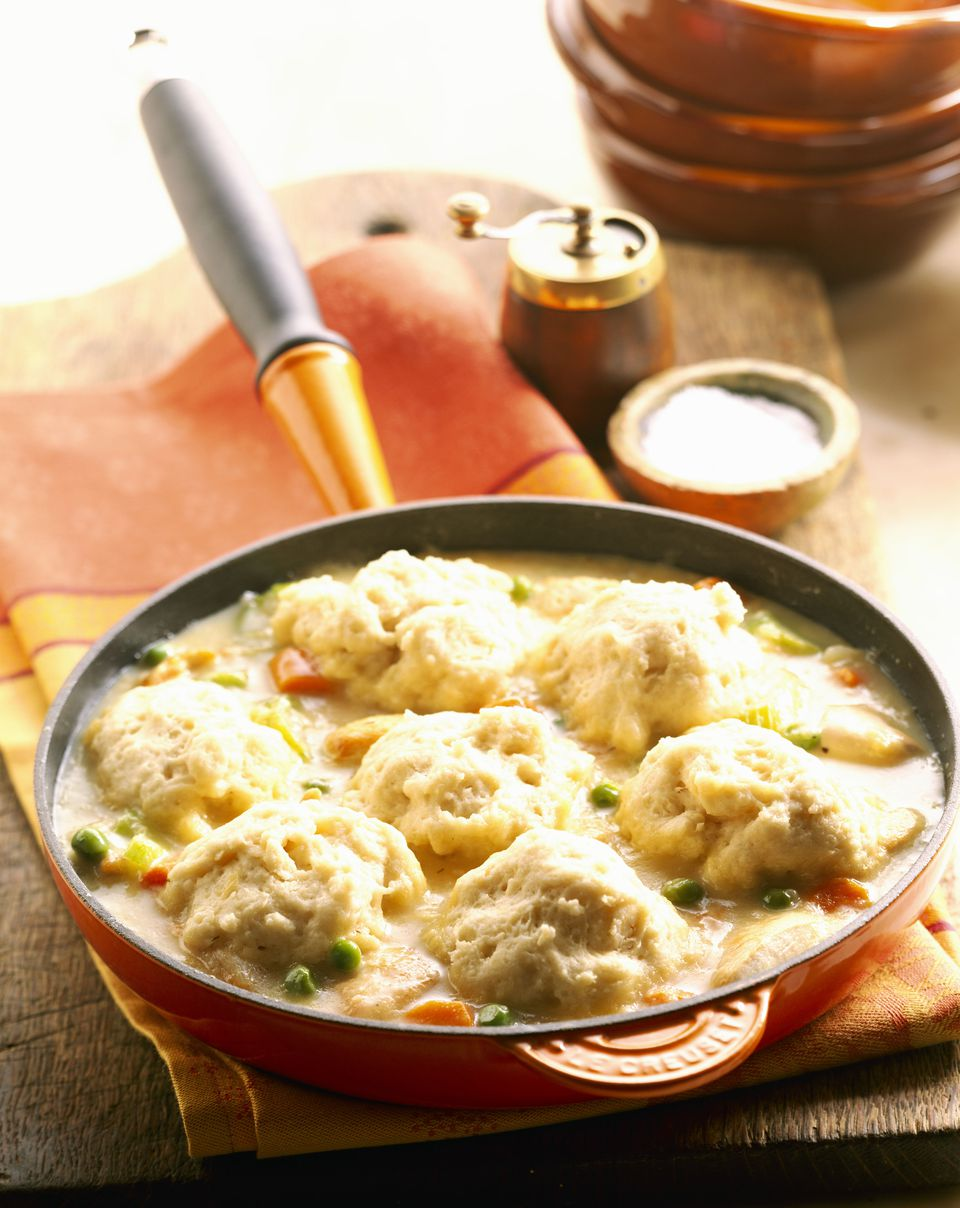 Chicken and dumplings in skillet
