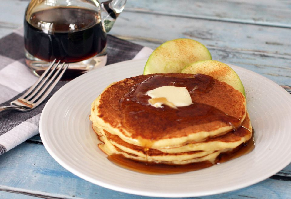 Cornmeal Pancakes with Maple Syrup