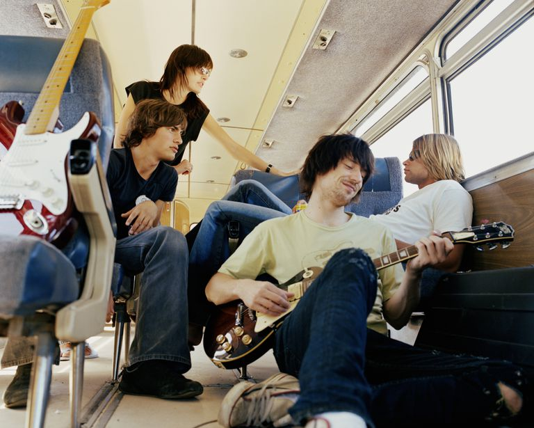 band on tour bus