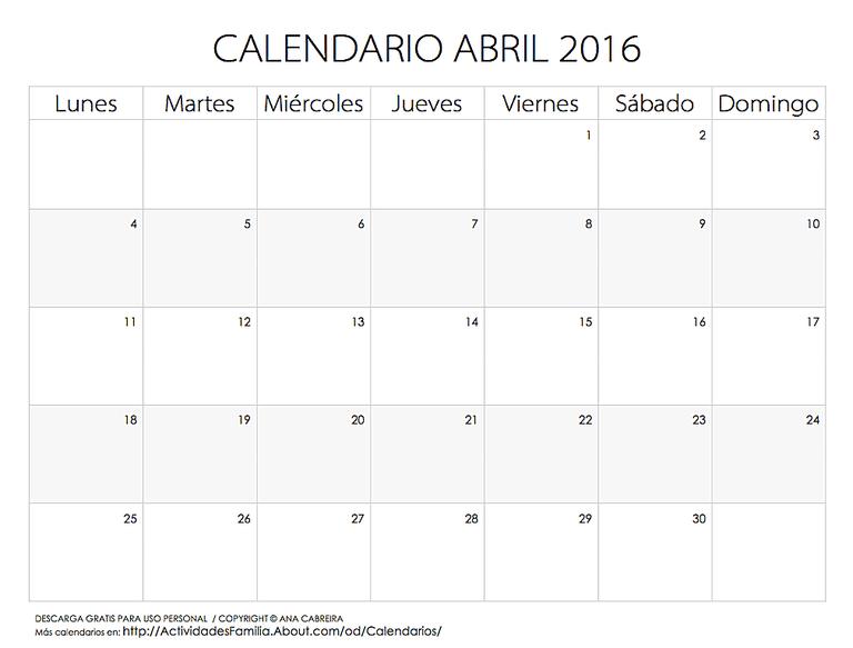 Calendario Abril 2016