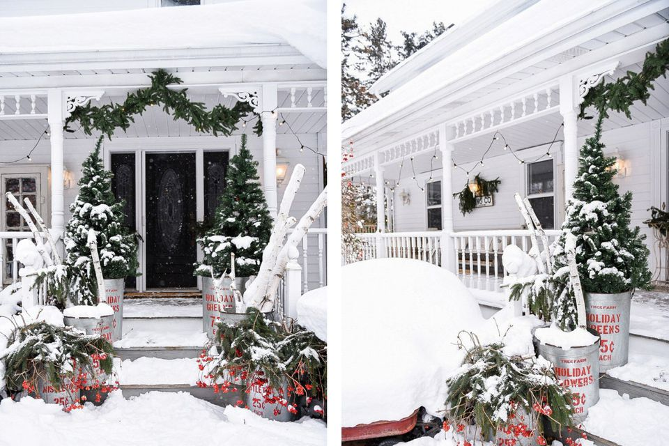 Snowy Christmas front porch