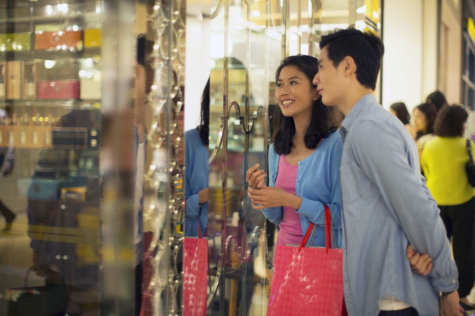 Couple shopping in Singapore