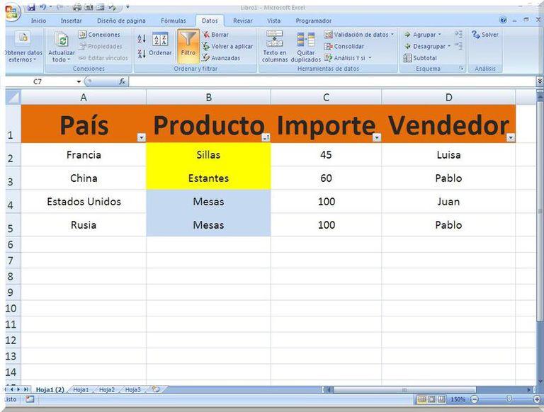 Filtro Excel por color