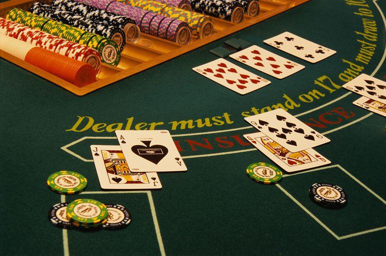 Winning Blackjack Hand on Casino Table