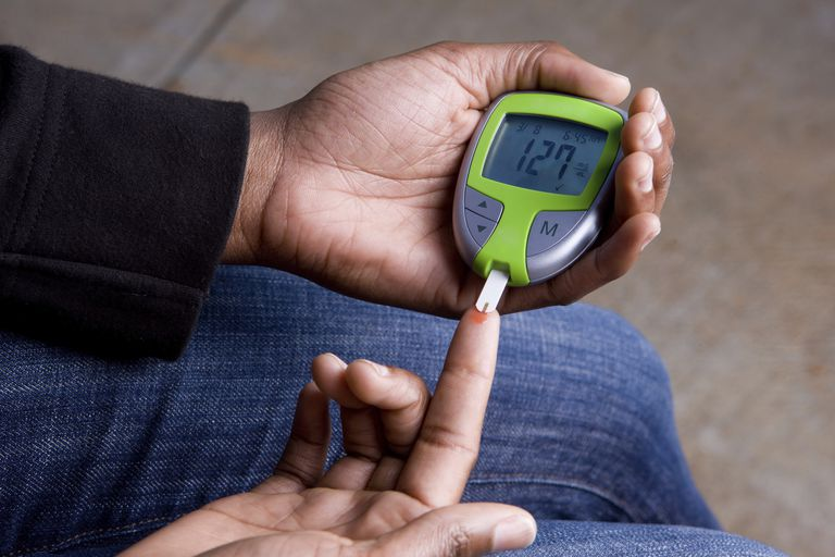 A diabetic testing her blood sugar.