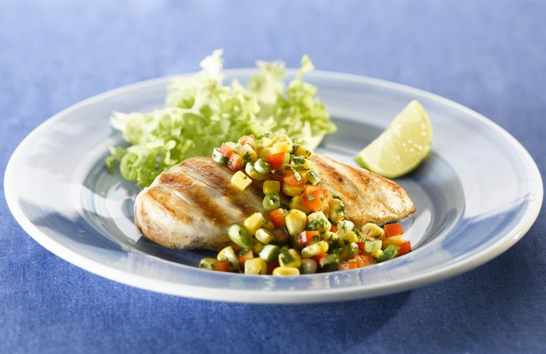 Grilled chicken breast with corn salsa